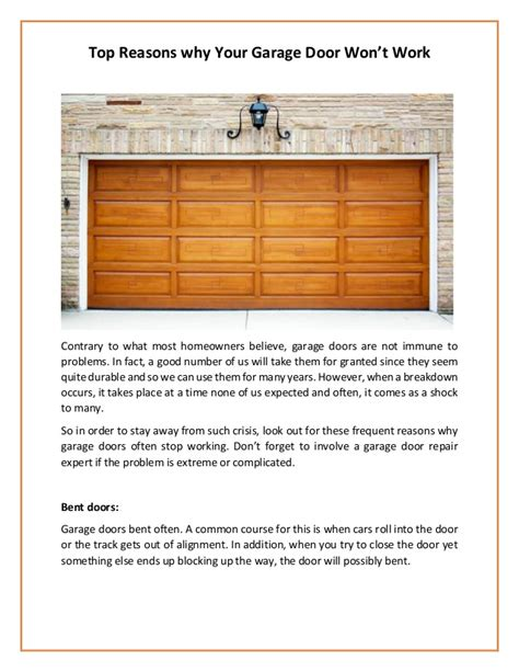 garage door wont top reasons why your garage door won t work