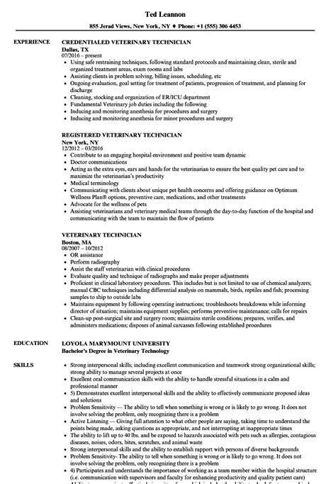 veterinary technician resume skills vvengelbertnl