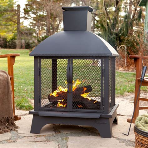outdoor patio fireplace wood burning pit chiminea