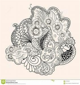 Dessin Fait Main : dessin fait main de hindi de filigrane de mehendi ~ Dallasstarsshop.com Idées de Décoration