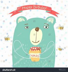 Cute Bear With A Jar Of Honey And Bees Flying Around It ...