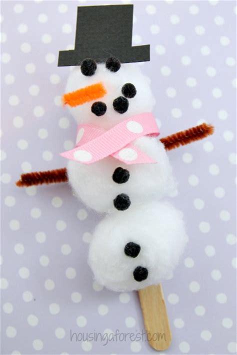 cotton ball snowman craft housing  forest