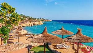Red Sea Coastline In Sharm El Sheikh  Egypt  Sinai  Blue Sky With Clouds At Sunny Day Stock