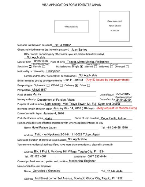 How to fill out Japan Visa Application Form with No