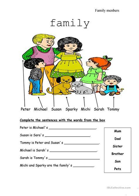 family members worksheet free esl printable worksheets