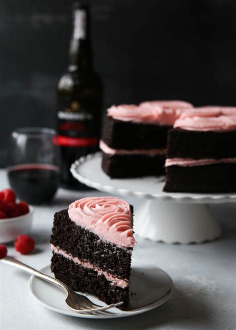 red wine chocolate cake  raspberry buttercream