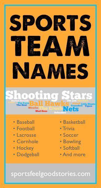sports team names list team names softball team names