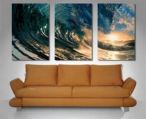 Crystal wave triptych 3 panel wall art for Panel wall art
