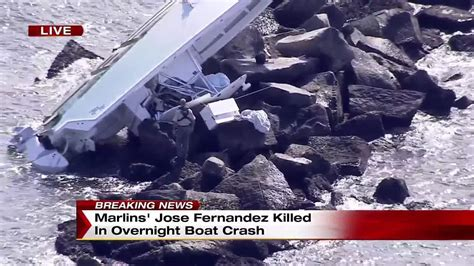 Jose Fernandez Boat by Crews Overturn Boat At Site Where Jose Fernandez Died
