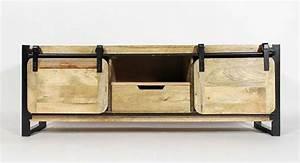 meuble cuisine avec porte coulissante armoire coulissante With meuble de cuisine ilot central 15 meuble tv industriel bois brosse et metal made in meubles