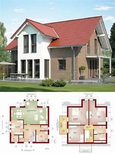 Haus Bauen Ideen Grundriss : satteldach haus mit klinker fassade quergiebel ~ Orissabook.com Haus und Dekorationen