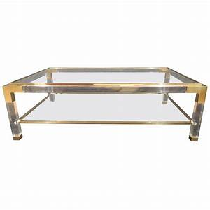vintage brass lucite and glass coffee table at 1stdibs With antique brass and glass coffee table
