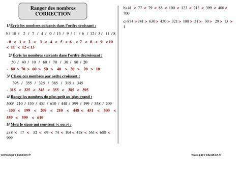 ranger des nombres ce1 exercices corrig 233 s num 233 ration math 233 matiques cycle 2 pass