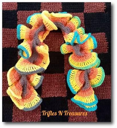 Scarf Ruffle Mandala Mindless Madness Crochet Allfreecrochet