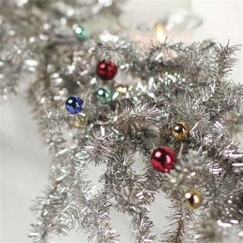 silver tinsel pine  bead ornament garland christmas