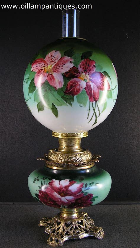 painted lamp hand oil marriage parlour kerosene lamps vase antiques