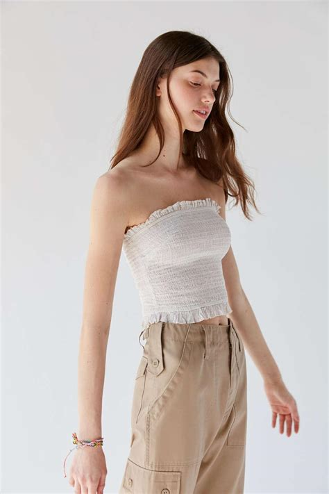 Urban Outfitters Cotton Uo Leo Smocked Ruffle Tube Top - Lyst
