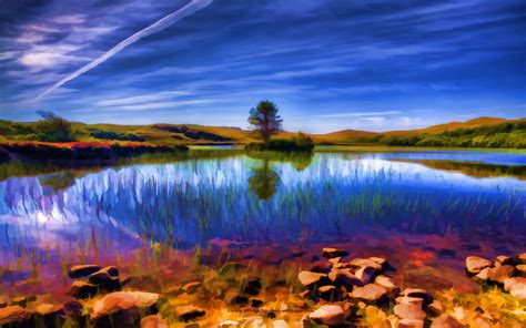 beautiful loch  summer beautiful wallpaper background
