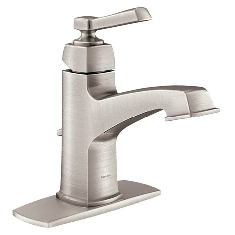 single hole bathroom sink faucet brushed nickel shop moen boardwalk spot resist brushed nickel 1 handle