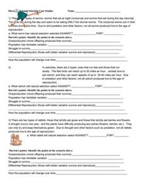 Darwin's Natural Selection Case Studies 7th  12th Grade Worksheet  Lesson Planet