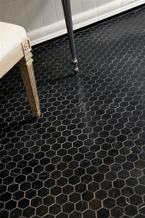 Marble Hexagon Floor Tile by Ann Sacks Nero Marquina 2 Quot Hexagon Marble Mosaic In Honed