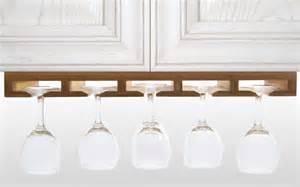hanging diy wine glass rack holder under white kitchen