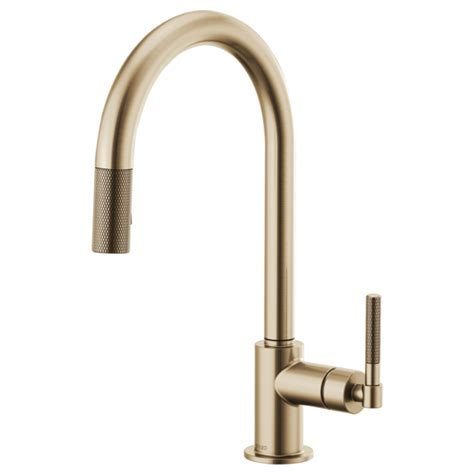 Pull Down Faucet with Arc Spout and Knurled Handle