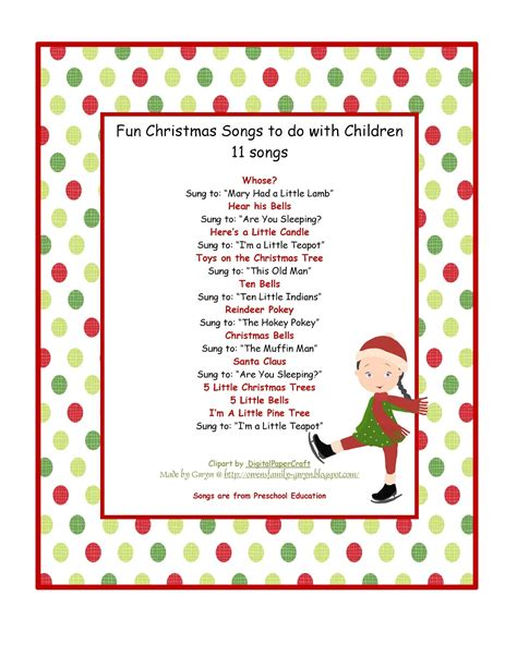 july 2012 preschool printables 725 | Fun Christmas Songs Printable
