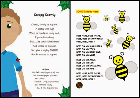 bee songs for preschoolers archives pdf word document file 176 | BugsSongs