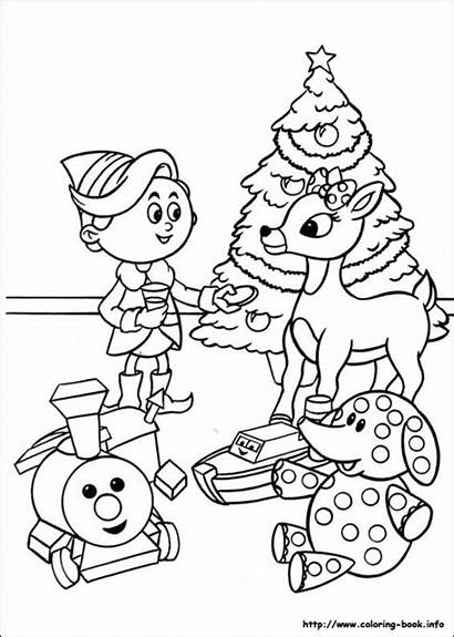 Christmas Rudolph Coloring Pages Printable Reindeer Merry