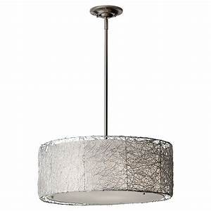 Feiss wired light brushed steel chandelier with fabric