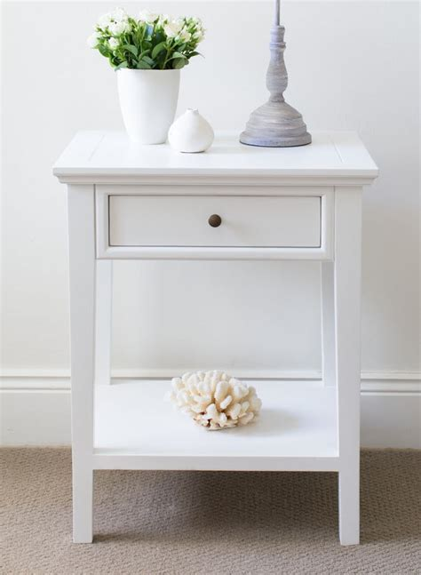 White Bedside Table   1 Drawer and Shelf