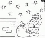 Santa Roof Sack Coloring Claus Gifts sketch template