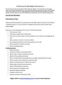 tim hortons supervisor resume sle tim hortons food counter description resumes design