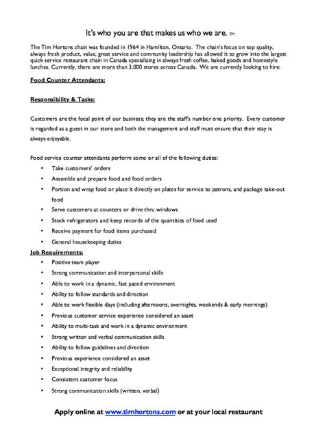Do You Need A Resume For Tim Hortons by Tim Hortons Food Counter Description Resumes Design