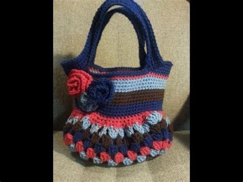 crochet granny square bottomed bag  tutorial youtube