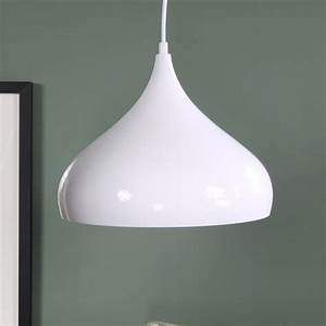 White metal dome pendant ceiling light fitting shabby
