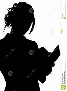 Silhouette With Clipping Path Of Woman Writing In Book ...