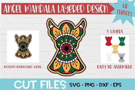 Download free svg files for your art & craft projects. Christmas Angel Mandala 3D Layered SVG Design