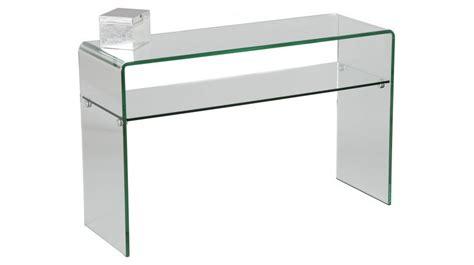 bureau pour ordinateur pas cher console design en verre courbé 1 rayon console design