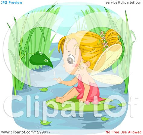 clipart   blond white fairy girl catching  droplet   leaf  sitting   water lily