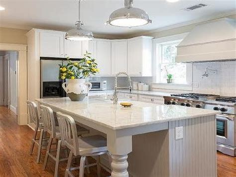 pendants hang   gray beadboard kitchen island