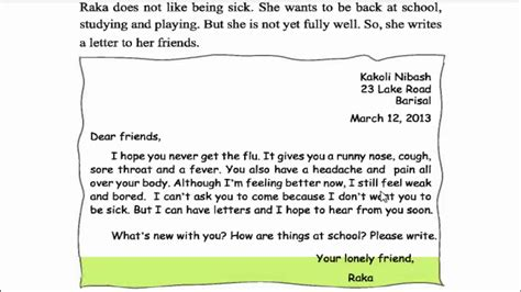 write  letter   school friend  english