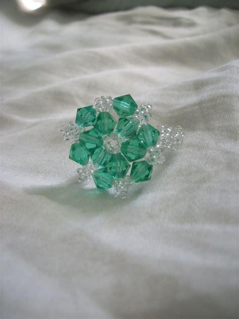 beaded snowflake ring  beaded ring beadwork