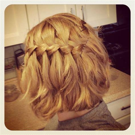 waterfall braid medium length short hair honey blonde