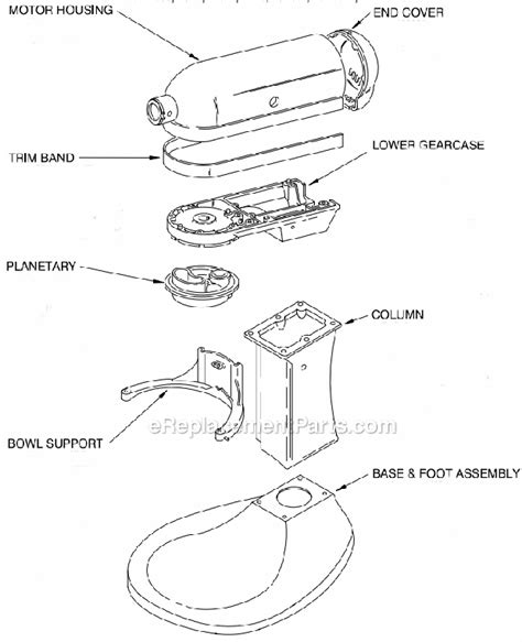 Kitchenaid Mixer Electrical Smell by Kitchenaid Kpm50 Parts List And Diagram
