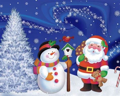 santa claus winter snow snowman desktop holiday christmas