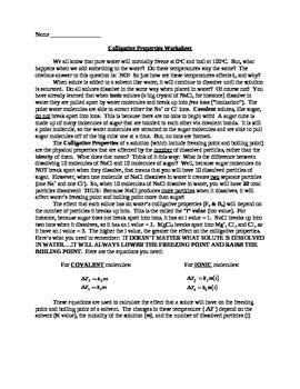 Colligative Properties Practice Worksheet By Mj Tpt