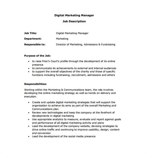 marketing manager description template 10 free word