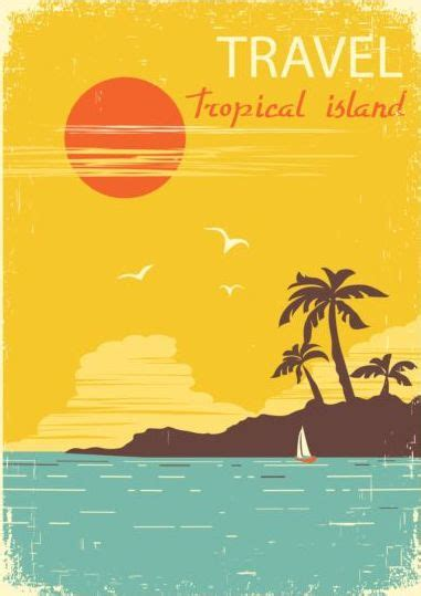 tropical island air travel vintage poster vector